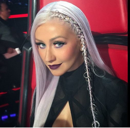 Christina Aguilera debuta cabello lila- New look!