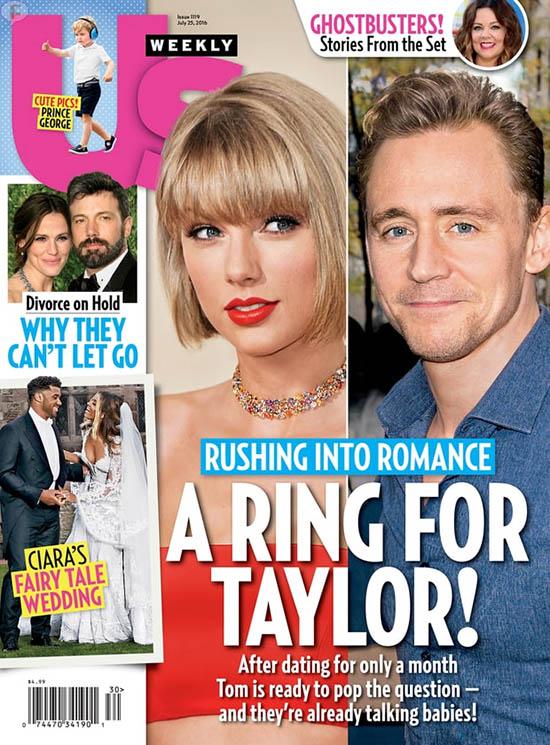 Tom Hiddleston pedirá matrimonio a Taylor Swift pronto! [Us]