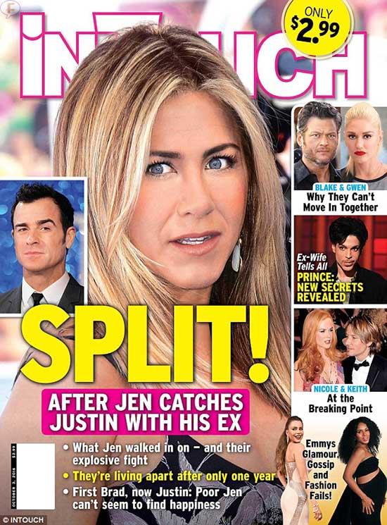 Jennifer Aniston separada de Justin Theroux! [InTouch] NOPE!