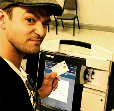 Justin Timberlake selfie votando - A la cárcel?
