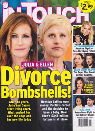Julia Roberts y Ellen DeGeneres: Divorcios Explosivos [InTouch]