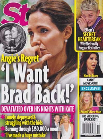Angelina arrepentida, quiere a Brad de vuelta [Star]