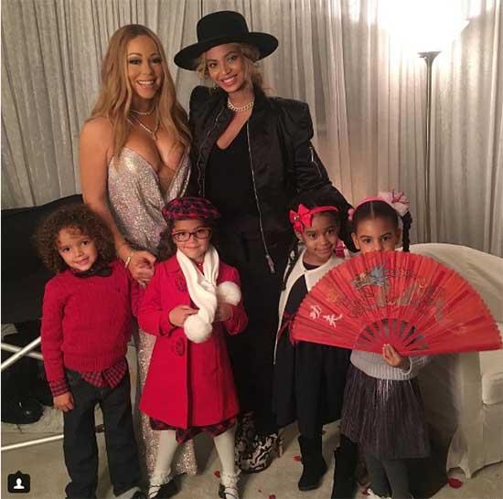 Mariah Carey y Beyonce con sus hijos