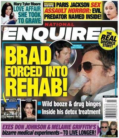 Brad Pitt forzado a entrar a rehab (Enquirer)