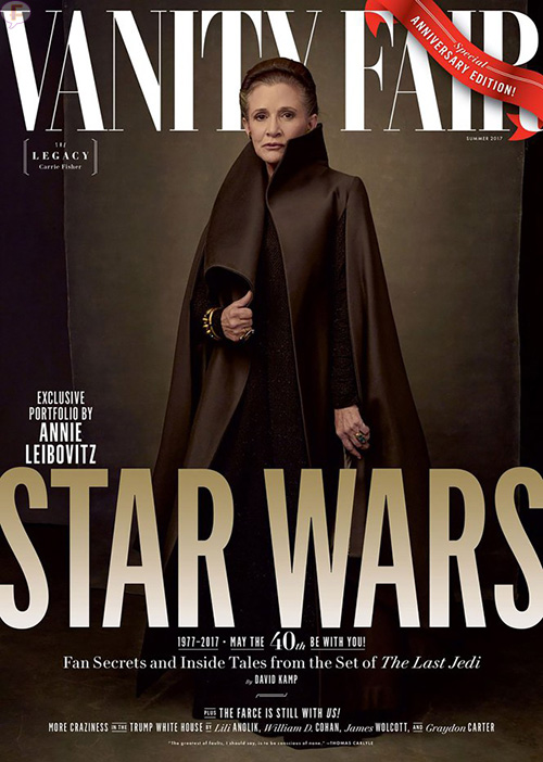 Elenco de Star Wars en Vanity Fair. Carrie Fisher como Princesa Leia.