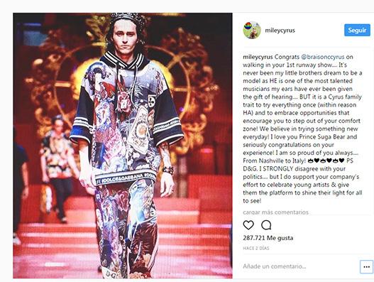 Miley Cyrus se pelea con Dolce & Gabbana en Instagram