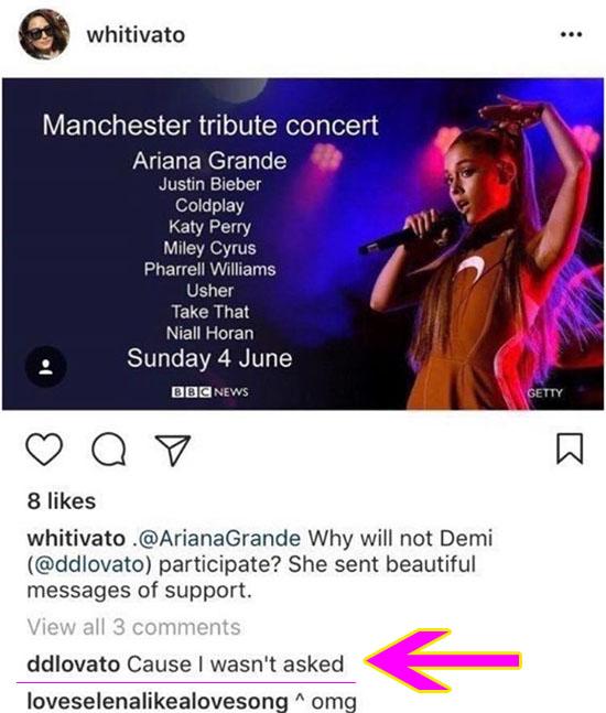 Por qué Demi Lovato no canta con Ariana Grande en Manchester?