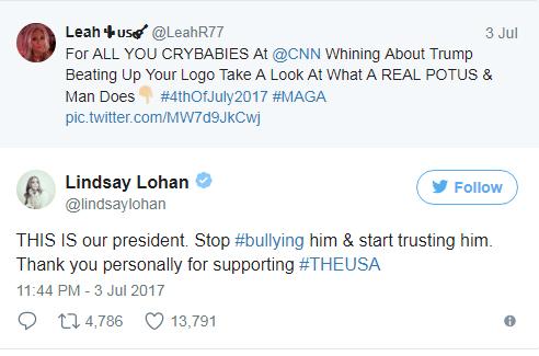 Lindsay Lohan defiende a Trump via Twitter