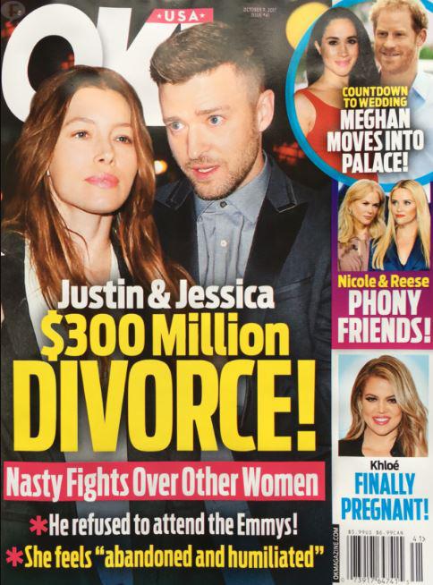 Justin Timberlake y Jessica Biel: Divorcio de $300 millones! (OK!)