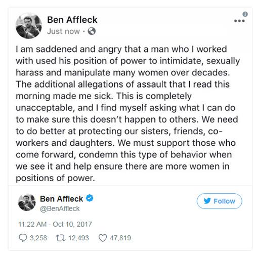 Ben Affleck habla de Harvey Weinstein. Matt Damon también.
