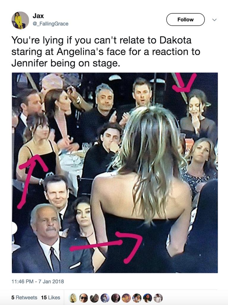 La reacción de Angelina Jolie ante Jennifer Aniston en los Golden Globes