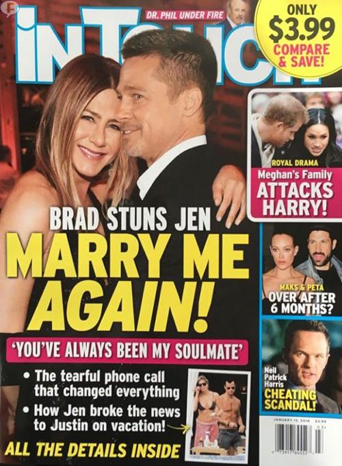 Brad Pitt Jennifer Aniston casados de nuevo? Se escapan! (Intouch – Star)