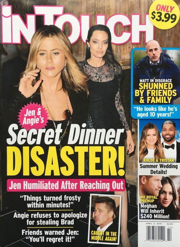 Jennifer Aniston y Angelina Jolie en una cena secreta (InTouch)
