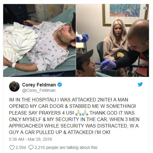 Corey Feldman dice que lo apuñalaron, intento de asesinato! WTF?