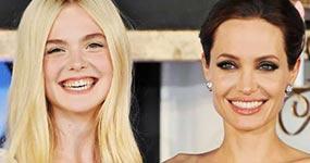 Angelina Jolie y Elle Fanning en el set de Maléfica 2
