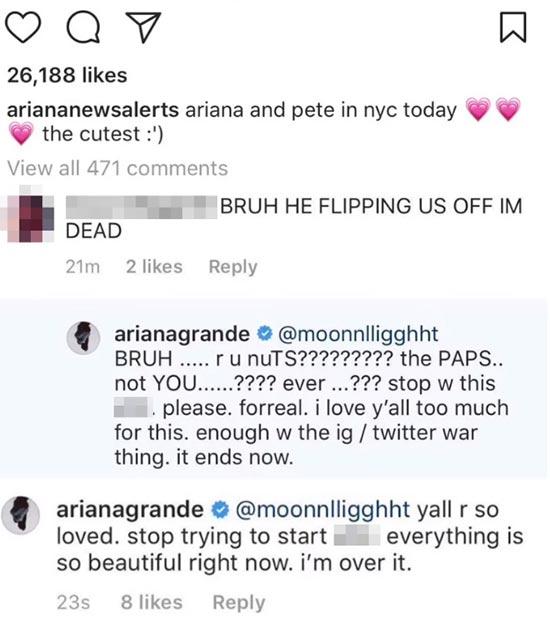Ariana Grande quiere que dejen de criticar a Pete Davidson
