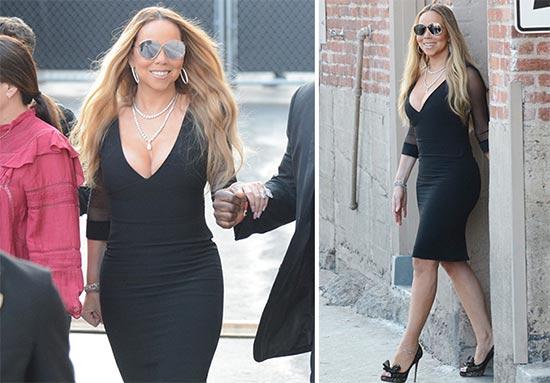 Mariah Carey muestra su delgada figura en Jimmy Kimmel