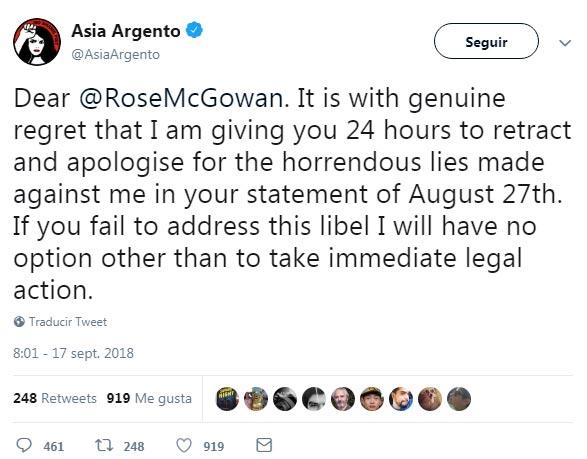 asia argento tweet rose macgowan