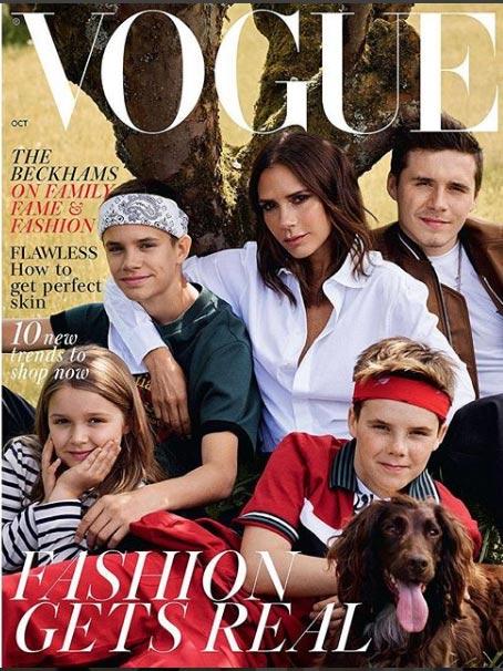 Victoria Beckham con su familia en Vogue UK