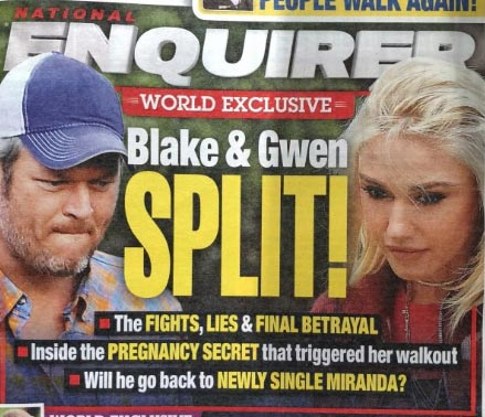 Gwen Stefani y Blake Shelton terminaron! (Enquirer)