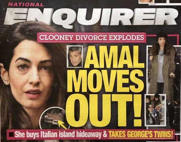 Amal Clooney se muda y se lleva a los gemelos (Enquirer)