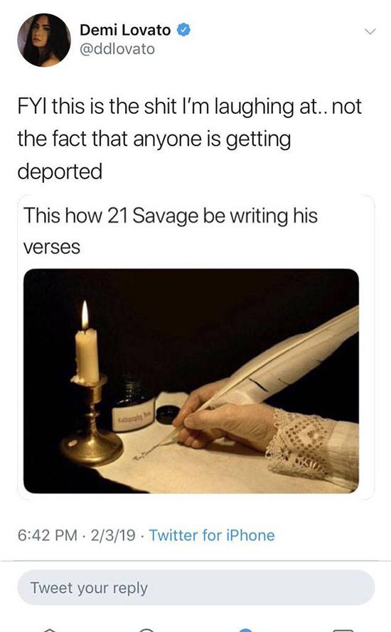 demi tweet 21 savage