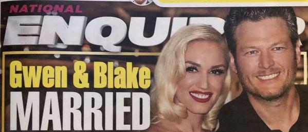 Gwen Stefani y Blake Shelton casados y esperando baby (Enquirer)