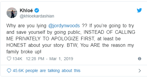 Jordyn Woods: No dormí con Tristan, él me besó. Khloe no le cree!