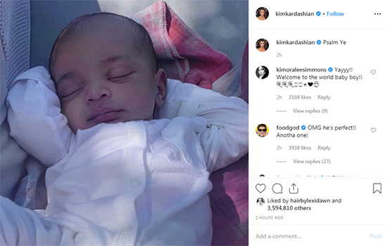 Kim Kardashian shared picture of his son's face Psalm West!