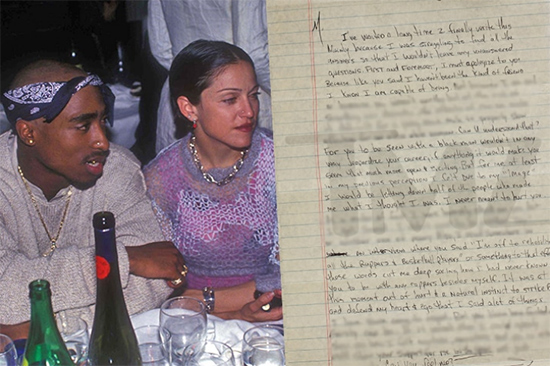 Madonna no pudo evitar la venta de la carta de Tupac