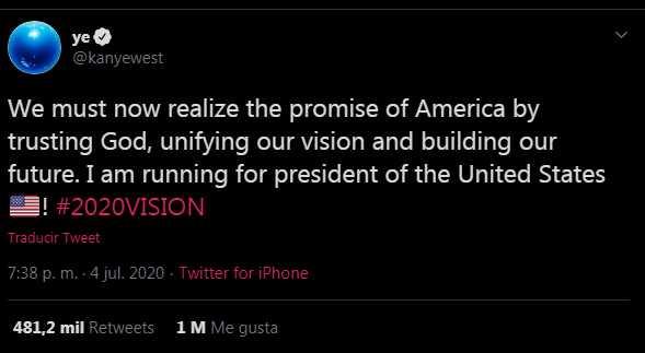 Kanye West para presidente de Estados Unidos