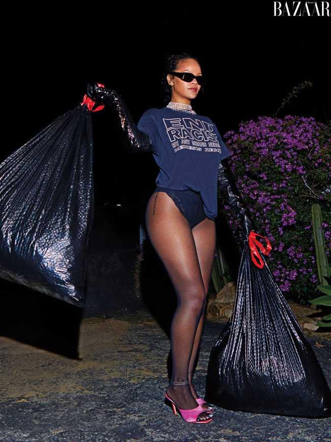 Rihanna saca la basura en ropa interior y tacones Harper's Bazaar