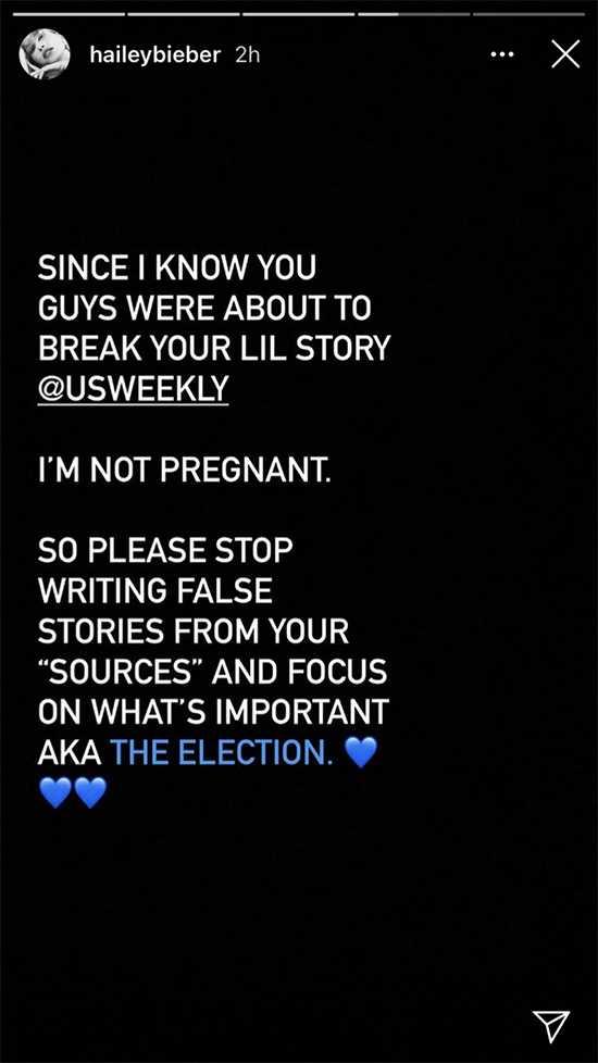 Hailey Baldwin niega rumores de embarazo