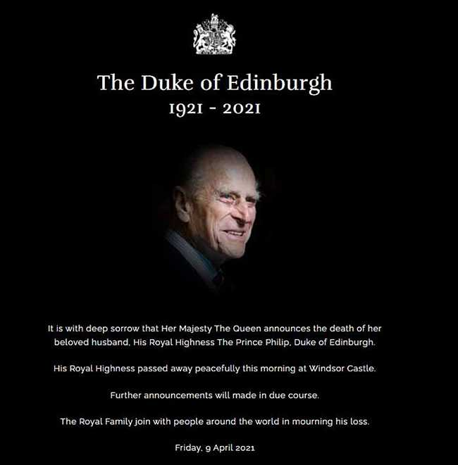 Buckingham Palace announced the death of Prince Philip