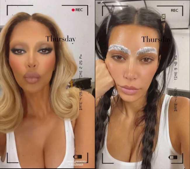 Kim Kardashian rubia sin cejas FUG!