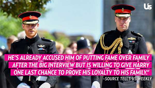 Prince William accused Prince Harry of putting fame above family