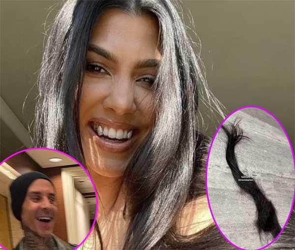 Travis Barker le cortó el cabello a Kourtney Kardashian
